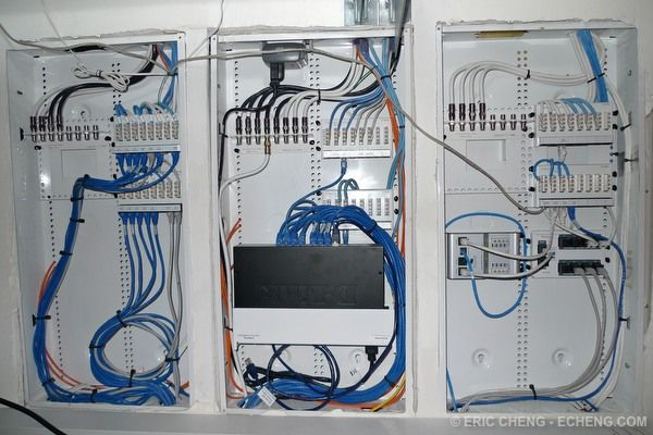 Centrally Located Home Network Wiring Closet. Allows Network access to every room and reduces clutter