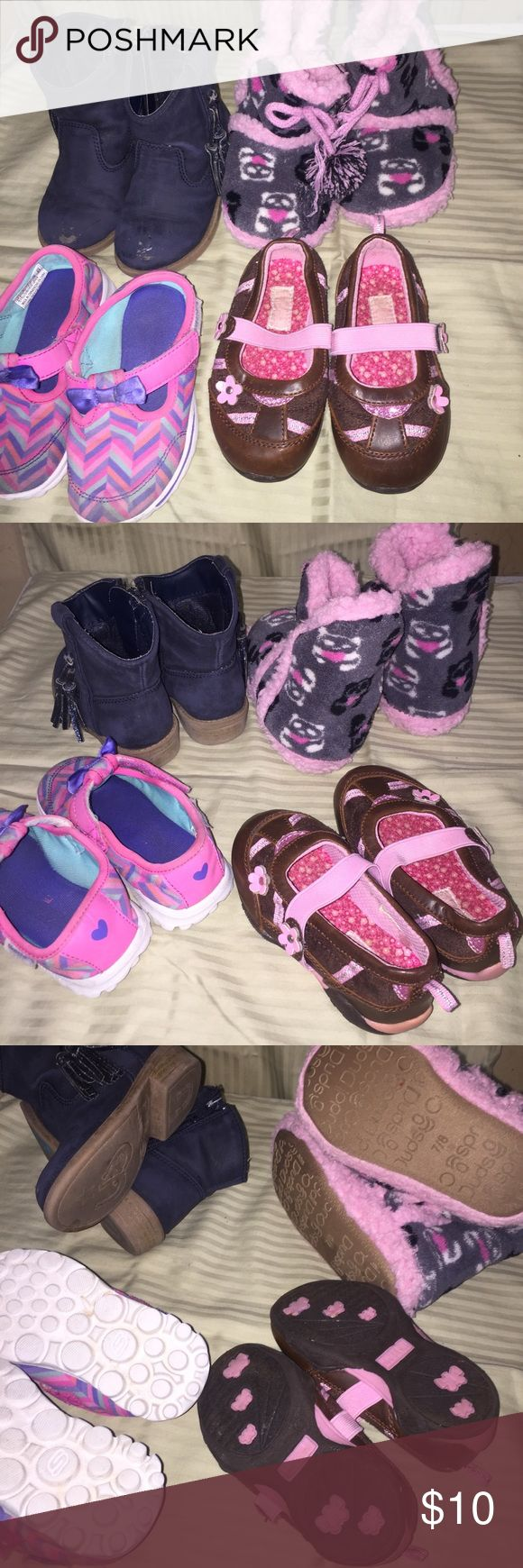 3 pairs girls 6/7 shoes Skechers cat & jack boots Slippers not included. Some scuffs on toe of boots pic Was taken with the flash so they look worse than how they look in person still a lot of life left Skechers Shoes Sneakers