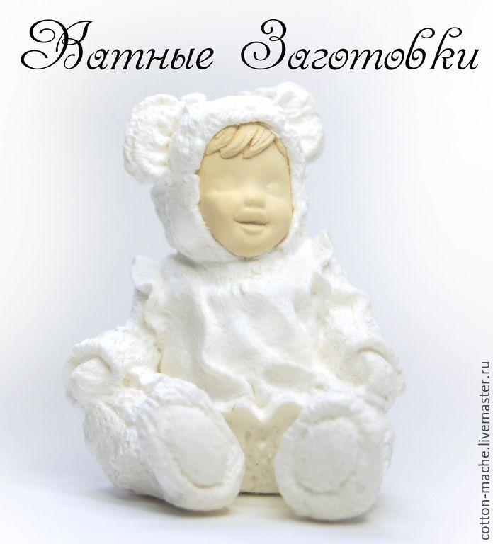 Купить Заготовка из ваты-3, Ёлочные игрушки, фигурка Малышка - белый, ватные заготовки