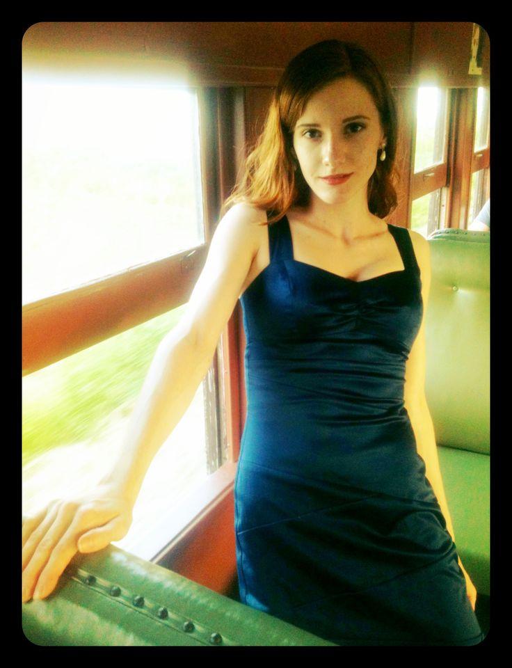 Kitchener-Waterloo model Josephine Jones on the train for Steel Rails 2013.