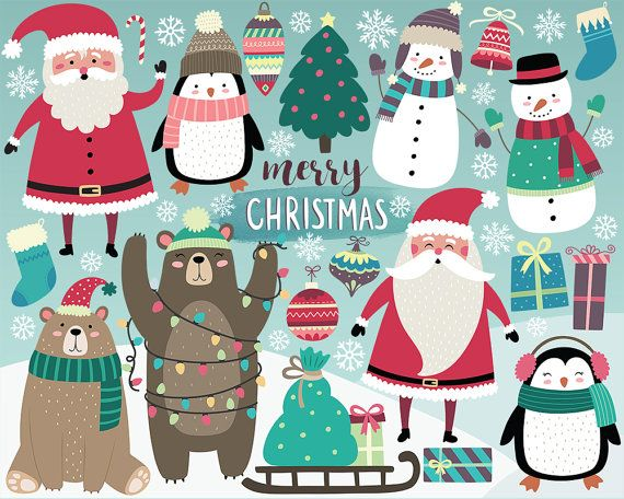 Christmas Clipart  Holiday Clipart Cute by KennaSatoDesigns