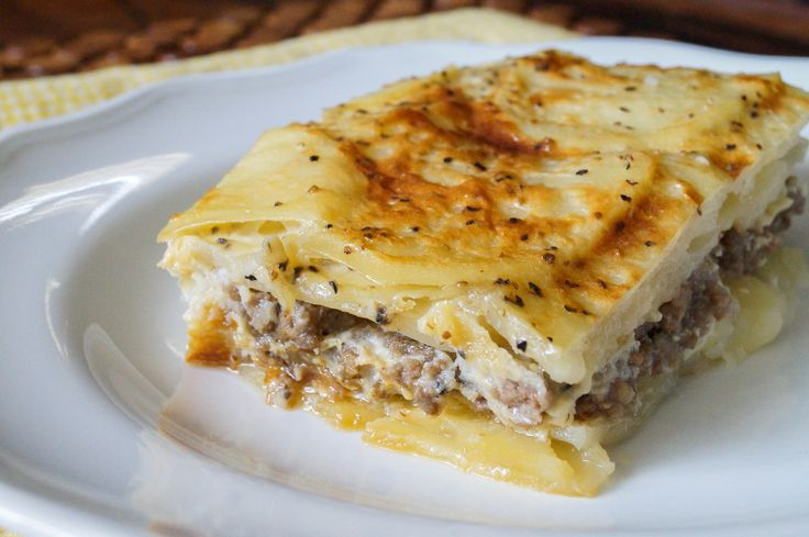 Musaka is a Serbian dish similar to the Greek Moussaka, but made with potatoes instead of eggplant. Potatoes are sliced and layered with ground beef or pork, then covered in a yogurt egg sauce befo…