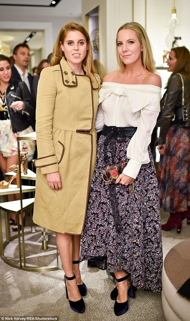 Princess Beatrice joined members of the fash pack this evening at a Jimmy Choo charity event where she wore a pain of £625 shoes by the designer. Pictured with Alice Naylor-Leyland - 12 Oct 2016