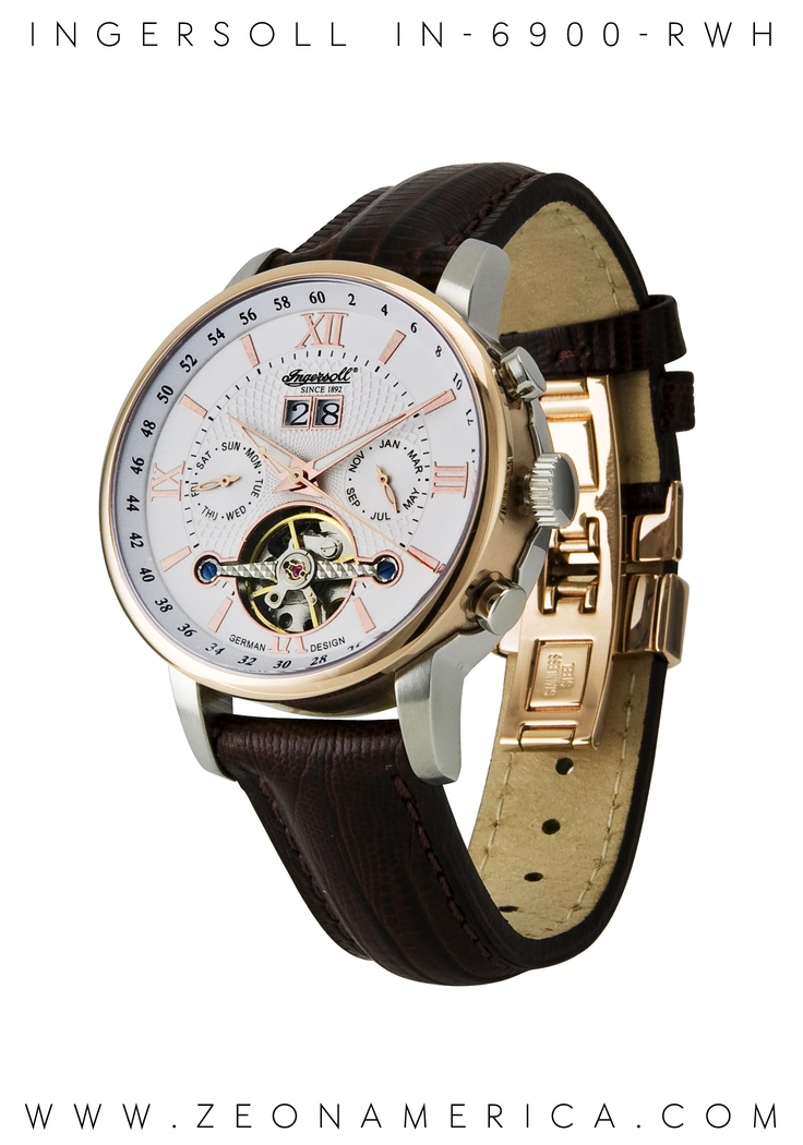 This Ingersoll Watches USA mens Grand Canyon IV - IN6900RWH stainless steel watch features a slick geniuine brown leather strap, white dial & open-balance wheel on the face. This piece is as beautiful & majestic looking as the place we take its name from, a golden toned paradise where time moves a little bit slower.