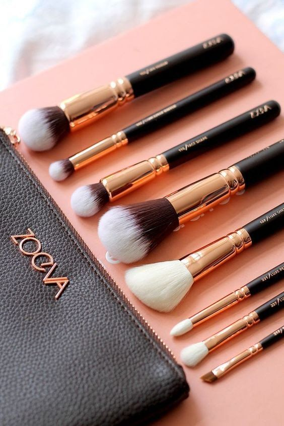 COMPLETE 15 PCS ROSE GOLD MAKEUP BRUSH SET Professional Luxury Set Make Up Tools Kit ZOEVA Powder Blending brushes