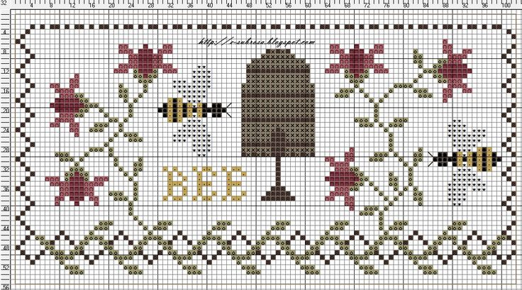 Sweet little bee sampler.  Might be able to adapt to iphone case cover?