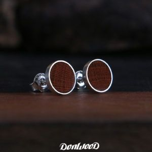 Plum earrings, wery nice earrings made of silver and plum wood on DonWood.cz