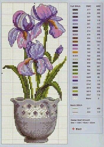 ♥Meus Gráficos De Ponto Cruz♥: Vasos com Flores em Ponto Cruz