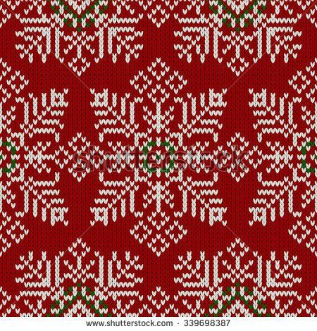 seamless knitted pattern with snowflakes on red background