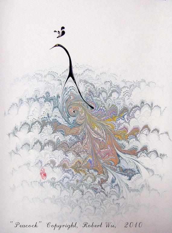"Peacock - Original Marbling Art, Marbled Paper, the Original ""Marbled Graphics"" by Robert Wu. $49.00, via Etsy."