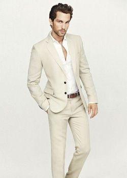 De mannen pak revers beige jurk bruiloft mannen pak vermagering twee bruidsjonkers kleding twee knoppen(jacket + broek + stropdas