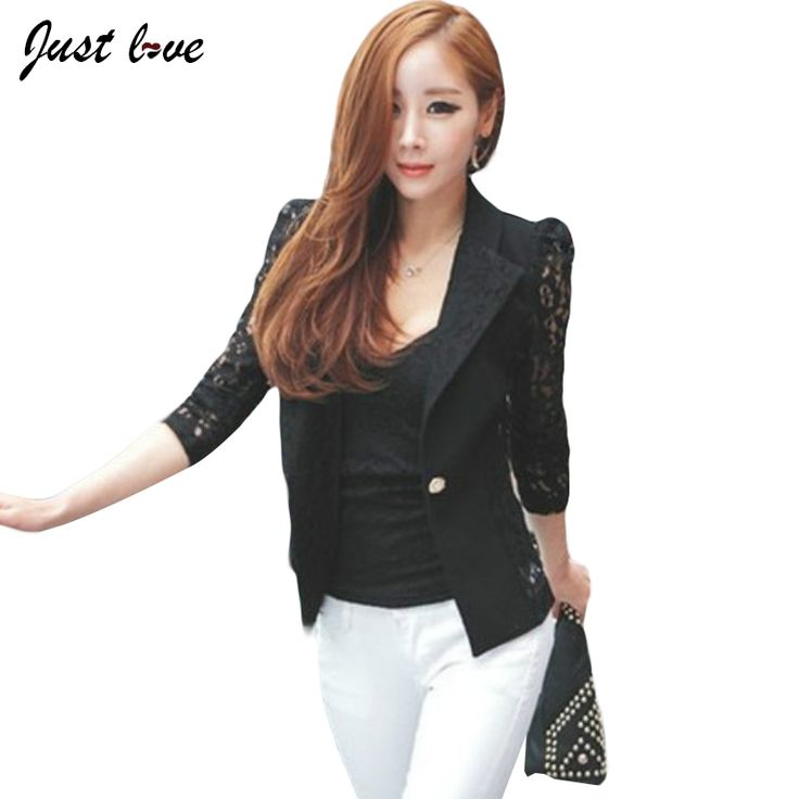 Women Blazer Spring Summer New Lace Floral Patchwork Hollow Out Slim Notched OL Work Female Jacket Ladies Cardigans Thin Coats