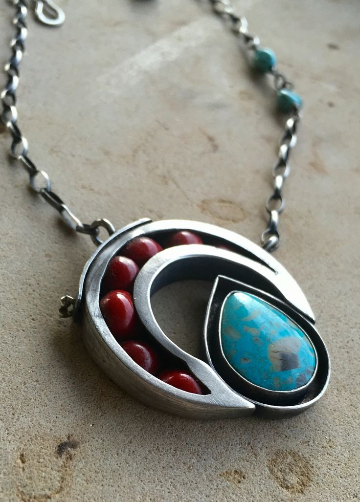 Julianne Van Buskirk  Pilot Mountain (Nevada) Turquoise, Red Acacia Seeds and Sterling Silver