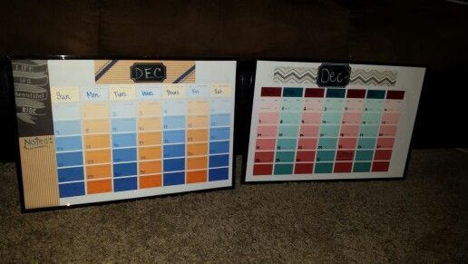 Paint Sample Strip Calendars: 7 Paint Sample Strips, 12x18 frame, Paper of choice. Directions: Cut strips to 6 squares long and save one square to write days on. We used chalkboard stickers on top of glass for month. We wrote days directly onto squares under glass. Numbers are written with dry erase markers onto frame glass.