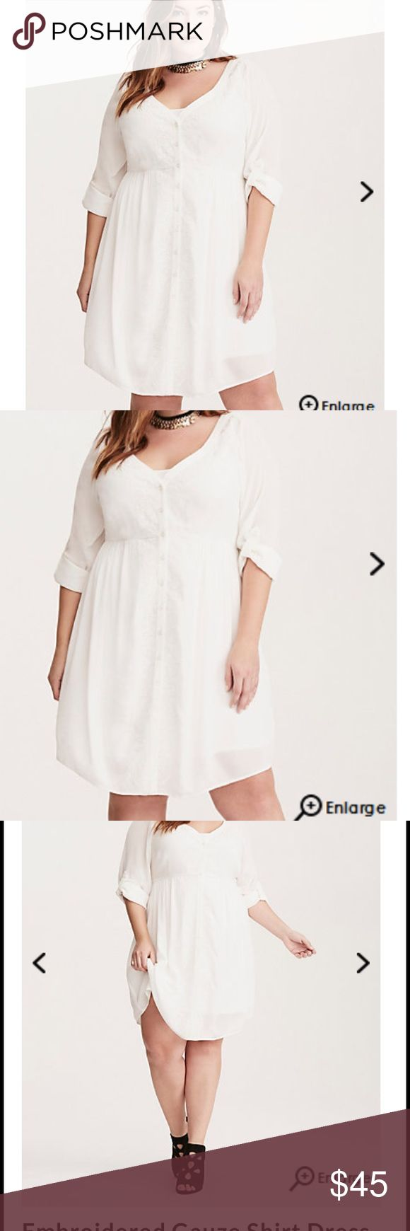 Torrid Boho white embroidered dress size3 3X 22/24 Get ready to fall in love ❤️ with this Torrid shirt dress. White gauze material gives a fresh breezy overlay on a romantic dress. Delicate embroidery cascades down the polished button front Adding to the bohemian feeling. . Tonal slip overlay keeps you covered. Size 3 3X 22/24 Bust 54, waist 48, hips 60-64. torrid Dresses Midi