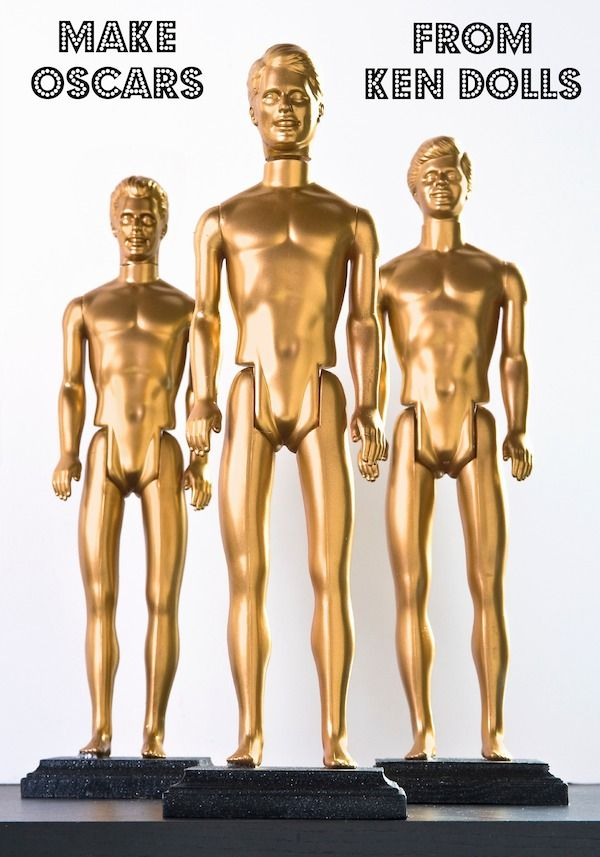 Make DIY Oscars from Ken dolls - or any dollar store plastic doll!