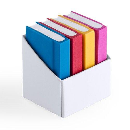 Set de cuatro gomas de borrar con forma de libro. Ideal para regalar a niños en campañas de publicidad. #regalosoriginales #promociones #merchandising #articulospublicitarios