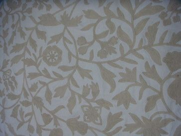 Crewel Fabric Carla White on White Cotton Duck craftsman upholstery fabric