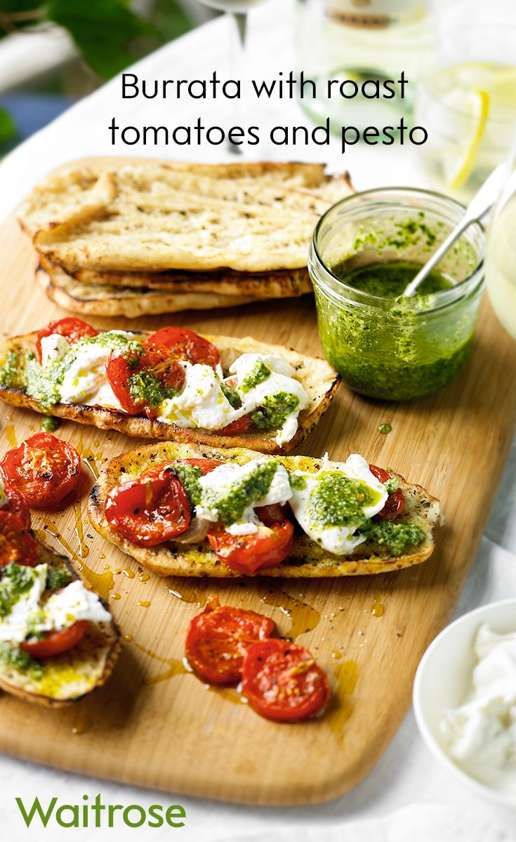 Try our delicious burrata with roast tomatoes and pesto. It's a perfect alternative to a sandwich. For more recipes check out the Waitrose website.