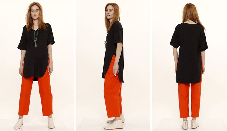 Dori Tomcsanyi black open side oversized t-shirt with coral pleat front trousers.  Available from September at the webshop. http://doritomcsanyi.com/