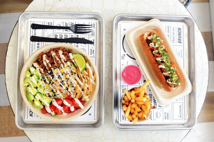 The quinoa taco salad and the pesto meatball sandwich with air-baked french fries at by CHLOE. | A #Vegan Menu With Burgers, Meatballs and Barbecue