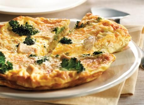 2 cups (500 ml) frozen broccoli florets, thawed, drained and chopped if large  1 cup (250 ml) chopped cooked chicken  8 eggs  1/2 cup (125 ml) 10% half-and-half cream  1/2 tsp (2 ml) each salt  and pepper  1/2 cup (125 ml) shredded Canadian Cheddar