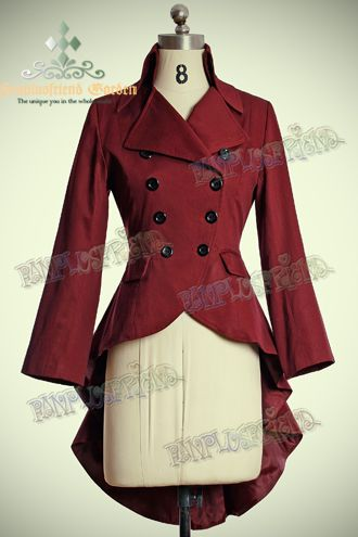 Elegant Goth Gothic Metal Buckles Tuxedo Tail Jacket - I love this color and have a thing for tail coats. ^^