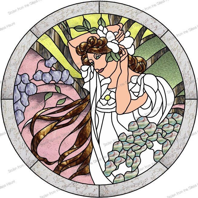 "Alphonse Mucha 6 June 24"" Stained Glass Pattern  Artist Ruth Green"