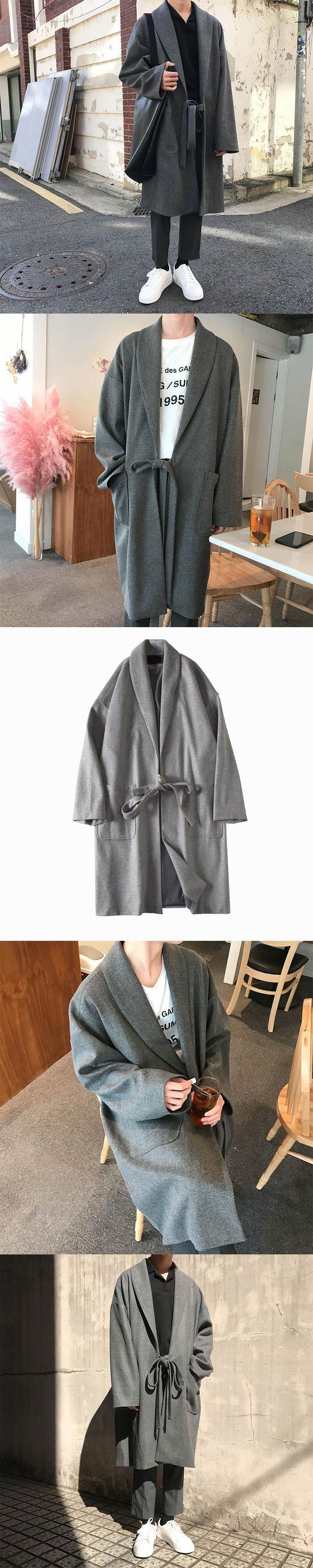 Fashion Winter 2017 Gray Long Coats Chalaza Wool Jacket Woolen New Overcoat Sobretudo Masculino Trench Casual Large Casaco Men