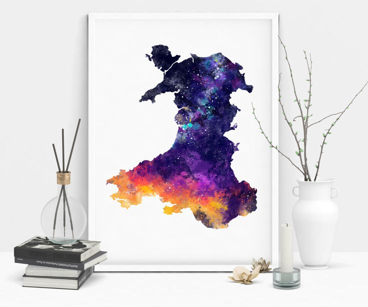 Wales Country Map Silhouette Outline Watercolour Galaxy Print by CoconuTacha on Etsy https://www.etsy.com/uk/listing/290309023/wales-country-map-silhouette-outline