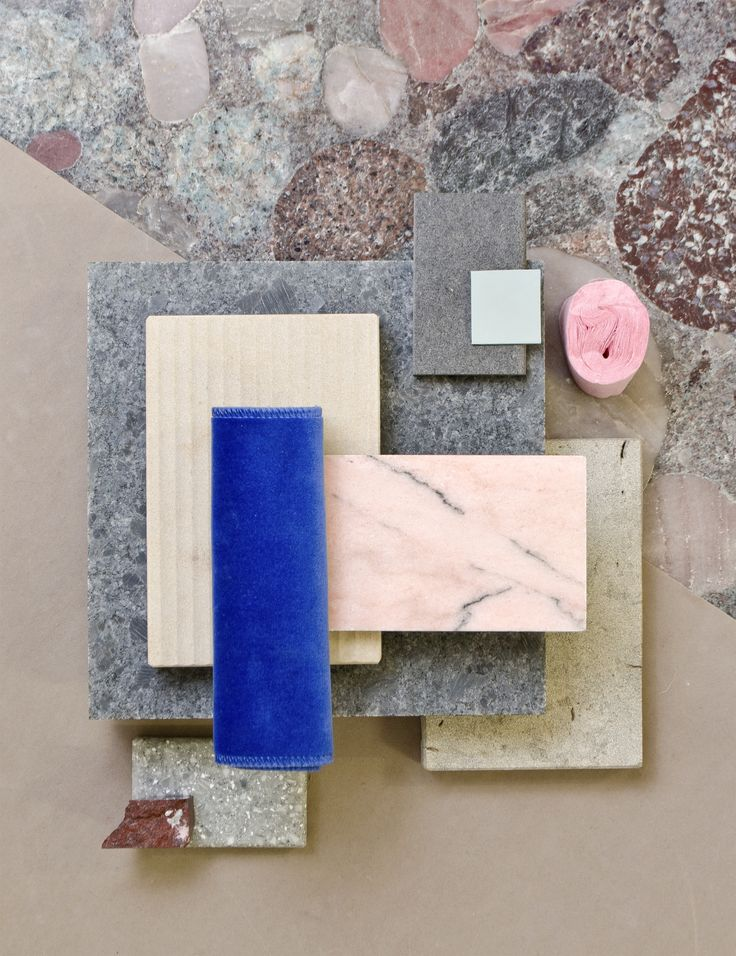 Weekly material mood 〰 Pink marble and big chunky stone #pinkmarble #terrazzo #colouredmdf #velvet #blue #pink #redmarble #grey #colour #design #material #mood #moodboard #studiodavidthulstrup
