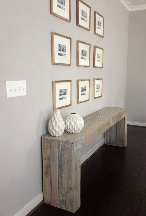 Modern Reclaimed Wood Console Table/ Sofa Table by RAKAMod on Etsy, $600.00 - love this! we'd try this idea www.homescapes-sd.com