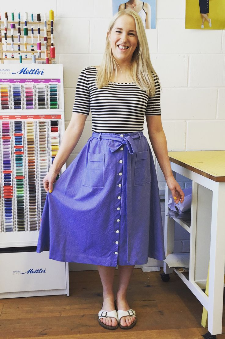 Vanessa's Dominique skirt with added button front - sewing pattern from Tilly and the Buttons