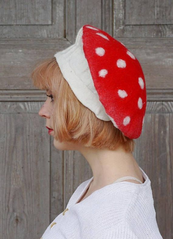 Unique and elegant felted French beret, fantasy fairy hat like mushroom - red toadstool with white dots. Designers felt hat - only one of a kind! Its made wet felted technique only of soft white and red high quality Australian merino wool. Hand shaped. Light, warm and elegant ! It may be the