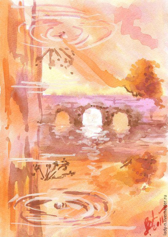 """Купить """"Заводи"""", картина, акварель, белила - оранжевый, желтый, коричневый, фиолетовый, пейзаж, символизм, поэзия"""