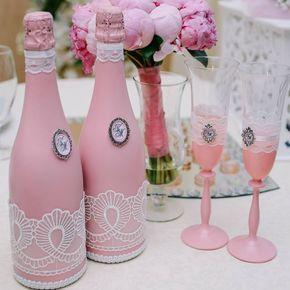 быки шампанское декор бутылки свадебные свадьба wedding розовое бокалы