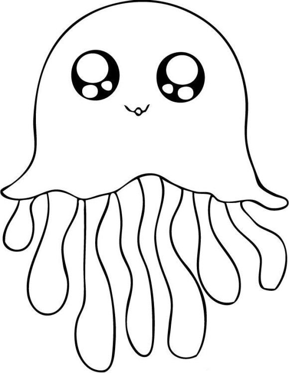 Cute Jellyfish Coloring Pages - Animal Coloring pages of PagesToColor.