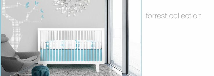 modern baby crib bedding and nursery decor in blue gray white forrest olli & lime