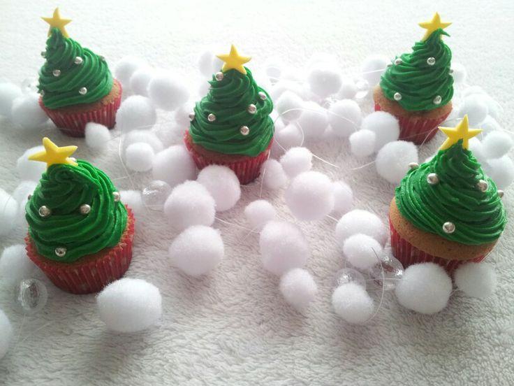 Mini-kerstboom-cupcakes