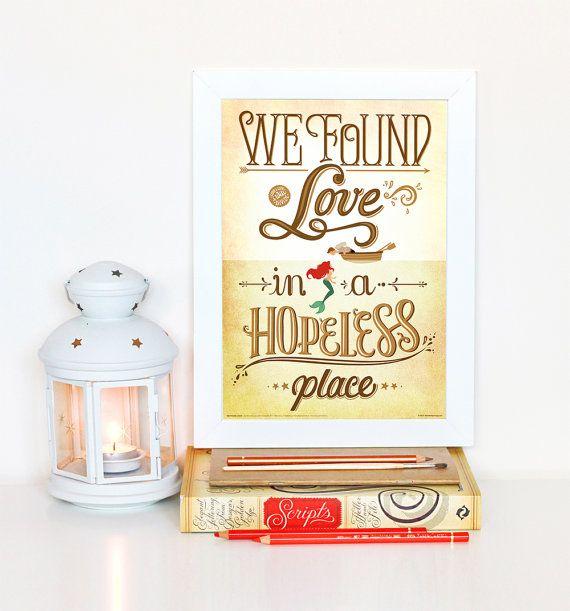 Nous avons trouvé Love (Calvin Harris) Little Mermaid Disney paroles affiche, musique Art Print, Illustration de la chanson Pop