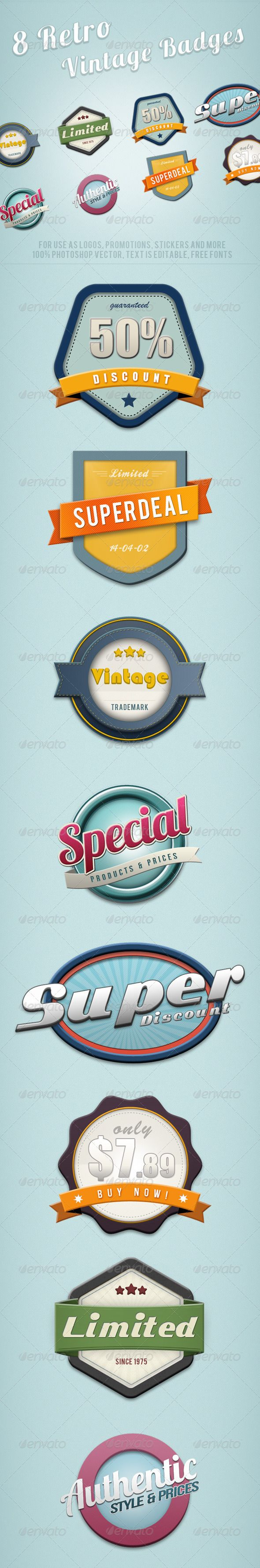 8 Retro Vintage Badges #photoshop #psd #grunge labels #badges • Available here → https://graphicriver.net/item/8-retro-vintage-badges-/2204846?ref=pxcr