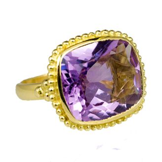 18ct Yellow Gold Cocktail Ring with a Pale Amethyst Cushion Cut Stone by Sophie Harley.