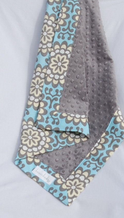 Baby Boy Minky Blanket - Amy Butler Sky Blue Wallflower with Charcoal Grey Minky. $36.00, via Etsy.