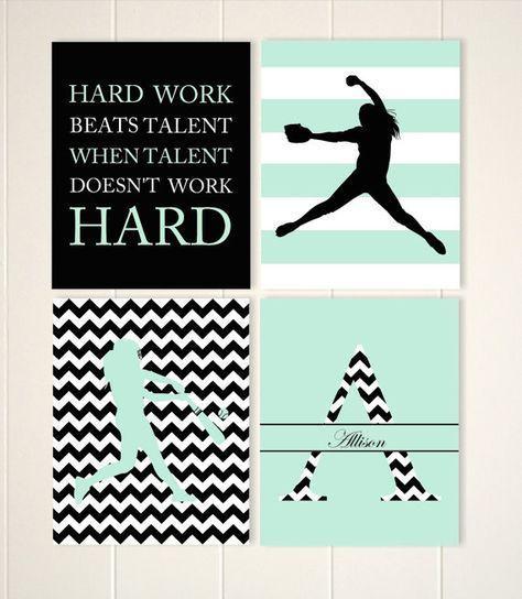 Softball wall art, girls room softball decor, softball pitcher, softball batter,…