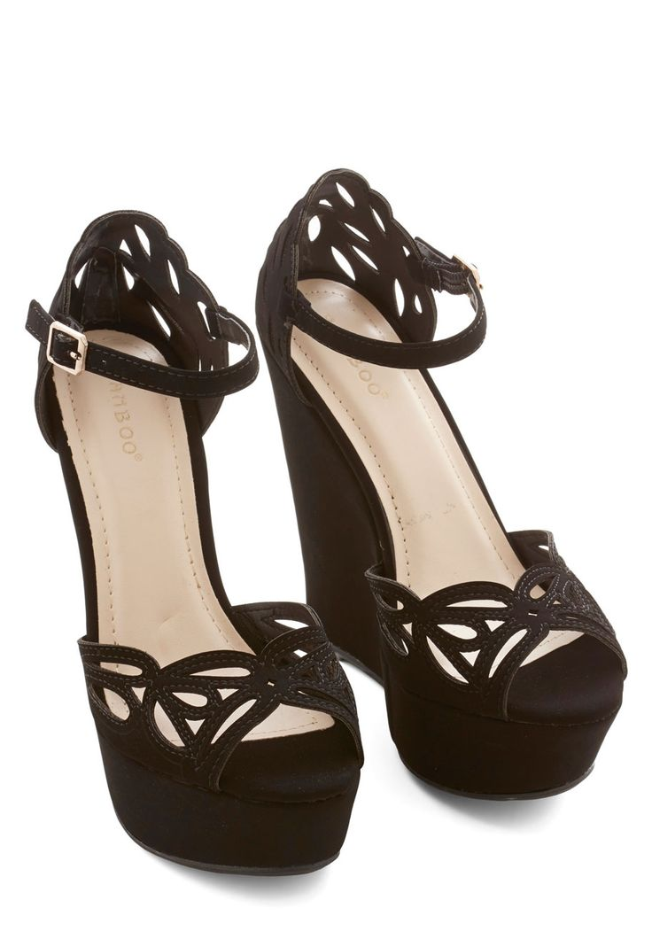 Confidence If You Want To Wedge. Shy of the spotlight? #black #prom #wedding #modcloth