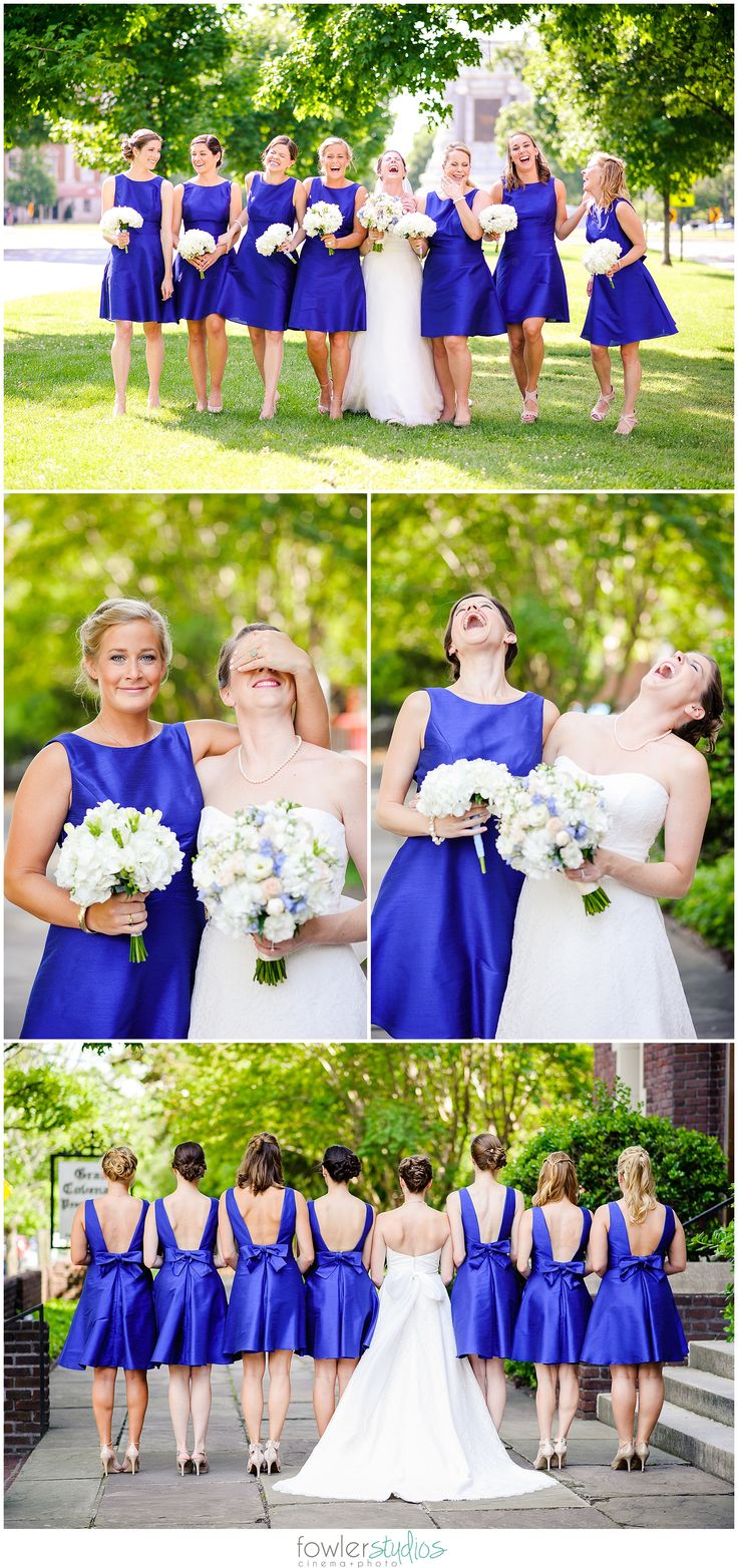 Margaret + Wesley's Richmond Wedding | Grace Covenant Presbyterian Church + Tuckahoe Woman's Club With royal blue bridesmaid dresses and a touch of green through the groomsmens ties, this sophisticated and elegant wedding was held at one of the most beautiful churches in Richmond, VA.  And the cathedral length veil really shined when it came to photos! Photos in front of Lee Monument, Richmond, VA