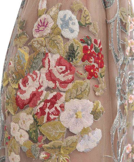 Another detail of the Valentino Floral And Pearls Embroidered Dress fall/winter 2012.
