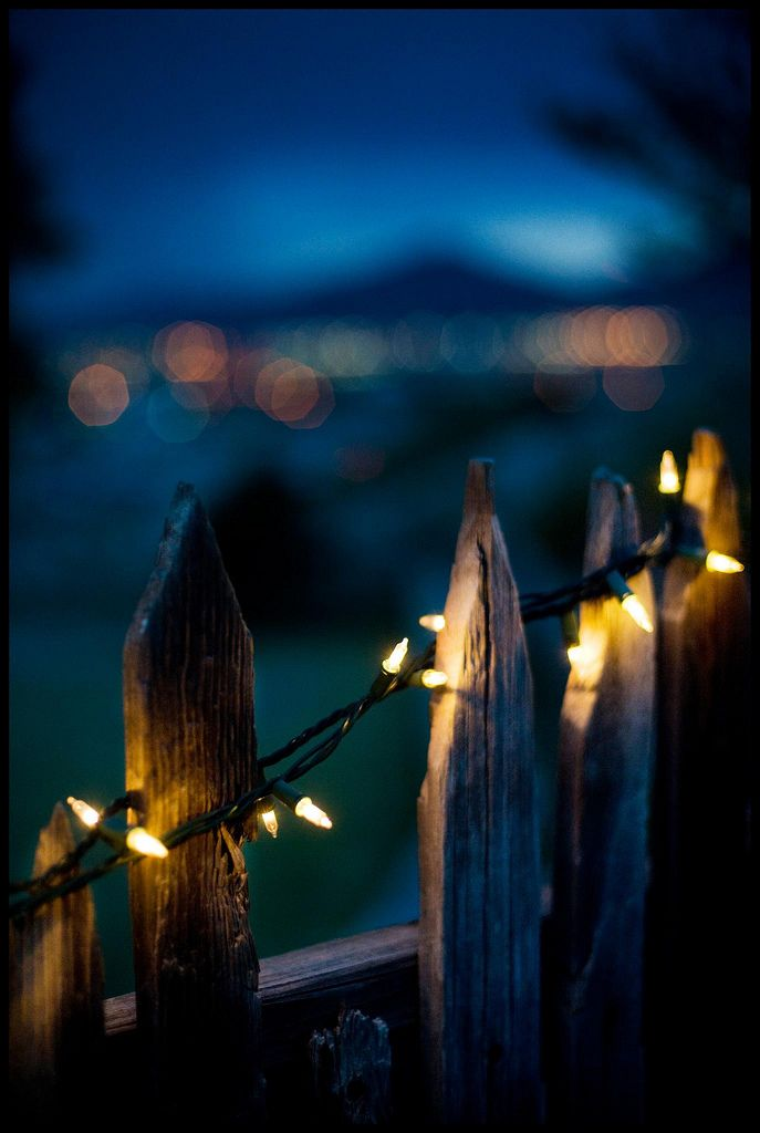 Lights on a country fence  Put up the solar fairy lights, and this would look peaceful all year round!!