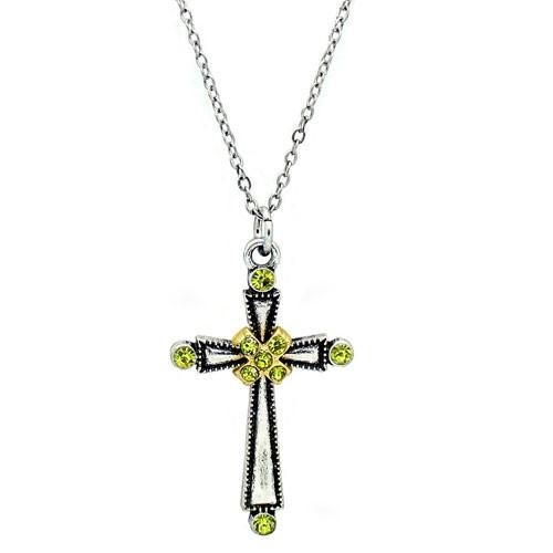 "Olivene faith hope necklace. Let this cross be a unique reminder of your strong hope and faith. The clean, simple design of the cross pendant make for a versatile piece and that can be worn with most any outfit. Two tone silver and gold plating with nine olivene crystals, pendant measures 1 3/8""H x 7/8"" with 16"" chain plus 3"" extender."