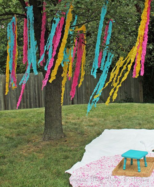 Love these hanging streamers at this picnic & pinwheels 2nd Birthday Party! See more party ideas at CatchMyParty.com. #girlbirthday